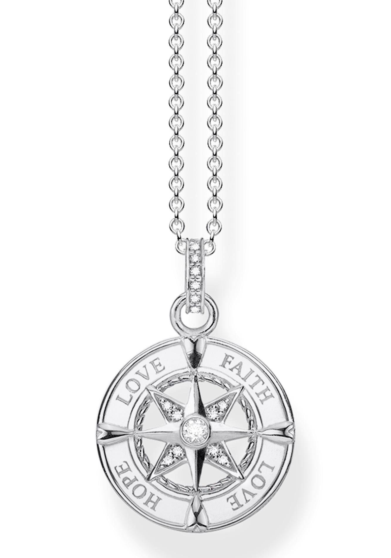 THOMAS SABO Kette mit Anhänger »Kompass, Glaube, Liebe, Hoffnung, KE1849-051-14-L45v« mit Zirkonia
