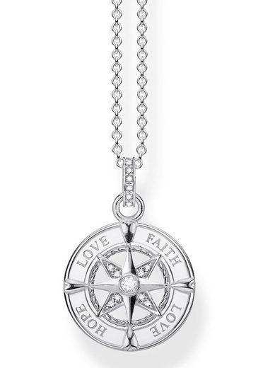 THOMAS SABO Kette mit Anhänger »Kompass, Glaube, Liebe, Hoffnung, KE1849-051-14-L45v«, mit Zirkonia