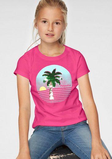 Arizona T-Shirt mit Druck und Wendepailletten