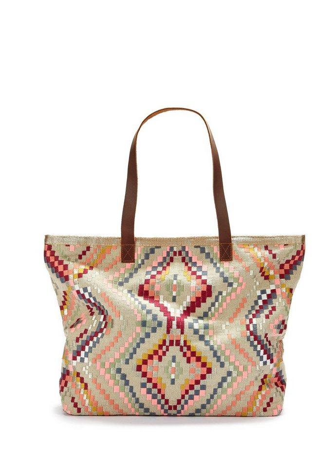 LASCANA Strandtasche, mit Bestickung | Taschen > Handtaschen > Strandtaschen | Weiß | LASCANA