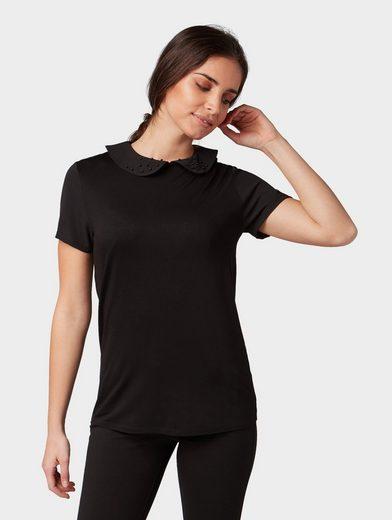 TOM TAILOR T-Shirt »Blusen-Shirt mit Bubikragen und Perlenstickerei«