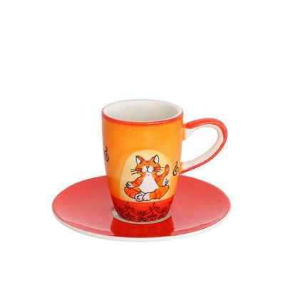 Mila Espressotasse »Mila Keramik Espresso-Tasse mit Untere Oommh Katze«, Keramik