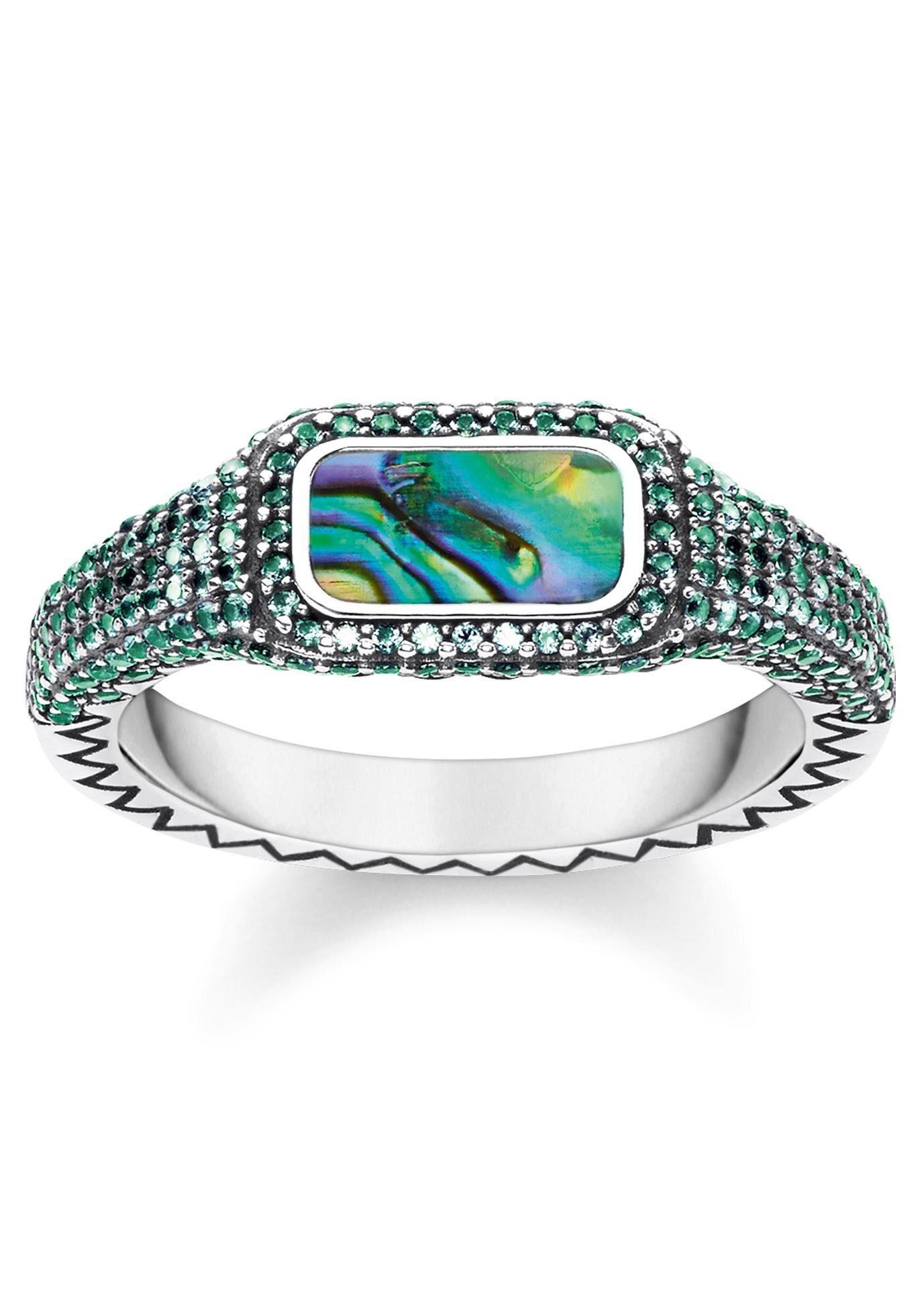Silberring 925 Silber mit Emaille  in 3 Farben grün grün rot Gr 48 bis 60