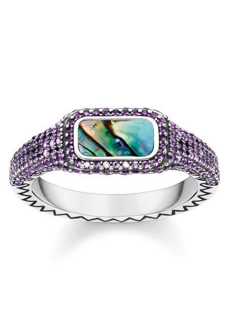 THOMAS SABO Silberring Farbenspiel lila TR2233-991-7-50 52 54 56 58 60 mit Perlmutt und Glassteinen