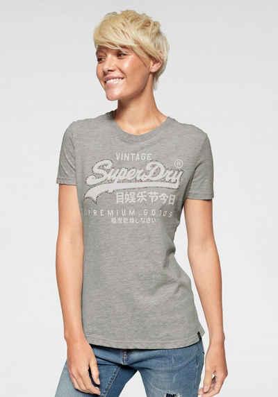 cef1ed76b9b89f Superdry T-Shirt »PREMIUM GOODS RHINESTONE CRACK ENTRY TEE« mit bunten  Glitzersteinen