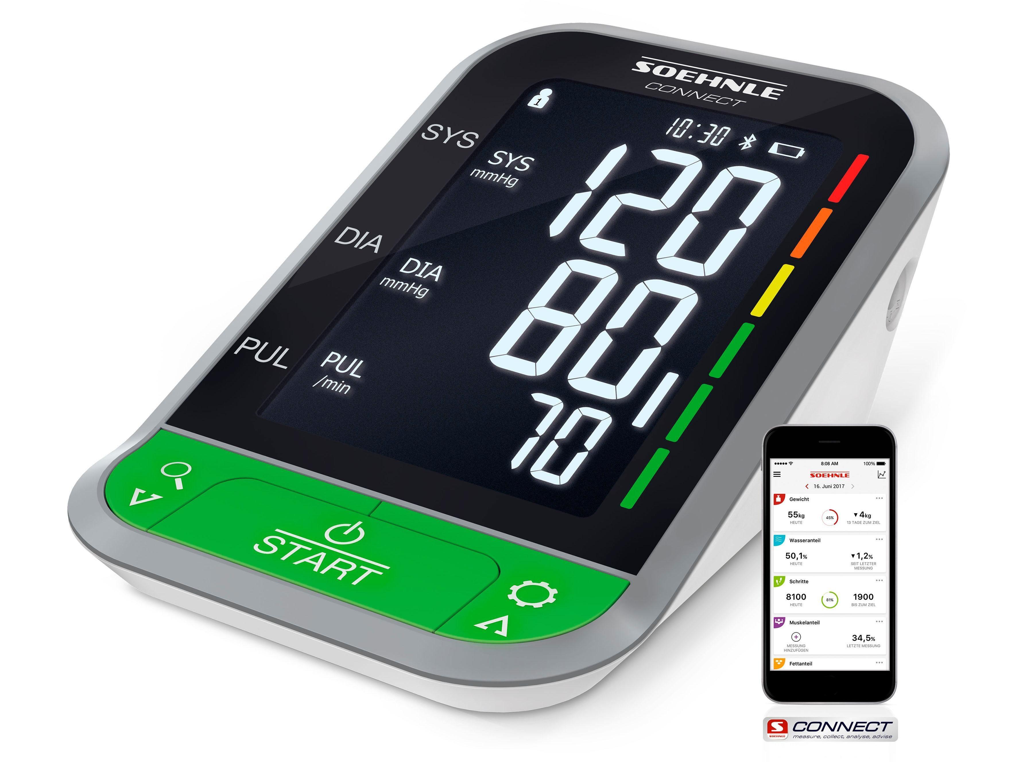Soehnle Oberarm-Blutdruckmessgerät Systo Monitor Connect 400, mit Bluetooth®
