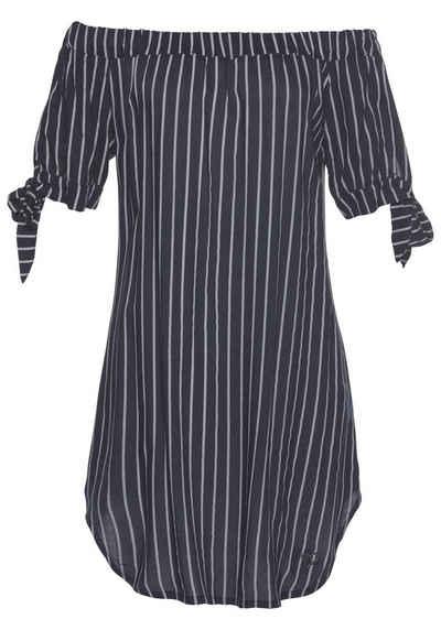 f07fb992ab0f94 alife and kickin Off-Shoulder-Kleid »ANNIE« sommerliches Kleid mit trendy  Längsstreifen