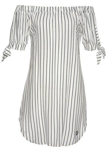 alife and kickin Off-Shoulder-Kleid »AnnieAK« sommerliches Kleid mit trendy Längsstreifen
