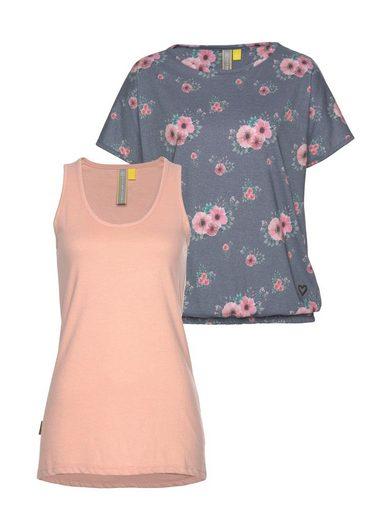 alife and kickin 2-in-1-Shirt »SUNNY« (Set, 2-tlg) modisches Set aus Shirt und Tanktop in Blumenoptik