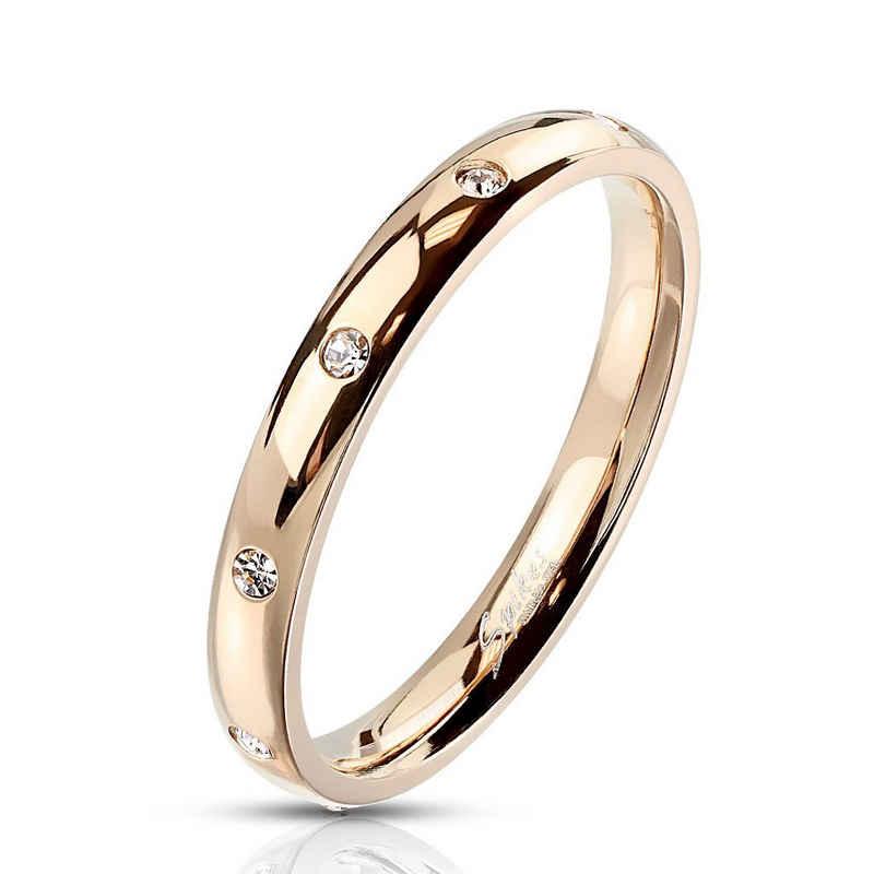 BUNGSA Fingerring »Ring mit 10 Kristallen schmal verschiedene Farben« (inkl. Schmuckbeutel aus Organza), Damen Herren Verlobung Ehering Valentinstag