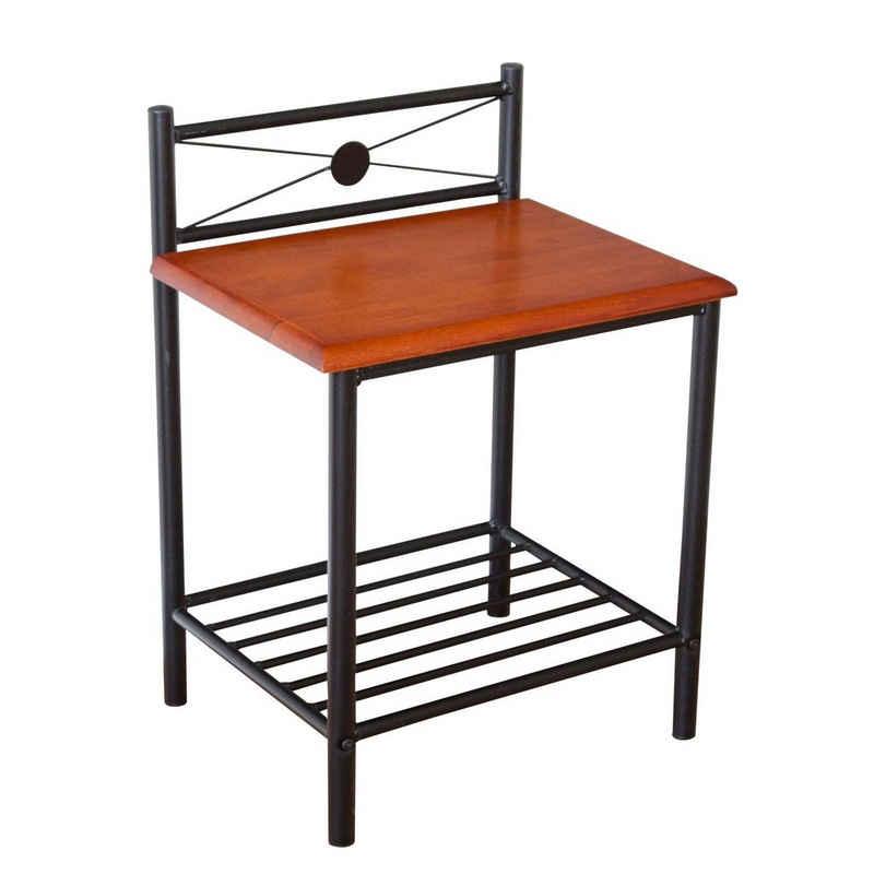 Homestyle4u Nachttisch »Nachtkonsole Nachtschrank Metall Beistelltisch«