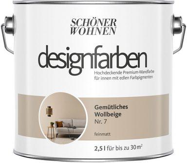 SCHÖNER WOHNEN FARBE Farbe »Designfarben«, Gemütliches Wollbeige Nr. 7, feinmatt 2,5 l