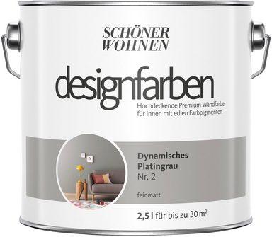 SCHÖNER WOHNEN FARBE Farbe »Designfarben«, Dynamisches Platingrau Nr. 2, feinmatt 2,5 l