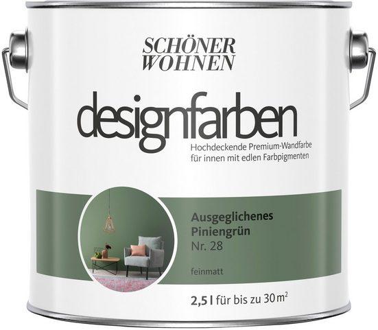 SCHÖNER WOHNEN FARBE Farbe »Designfarben«, Ausgeglichenes Piniengrün Nr. 28, feinmatt 2,5 l