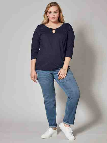Janet und Joyce by Happy Size Slim Fit Jeans mit Destroy-Effekt