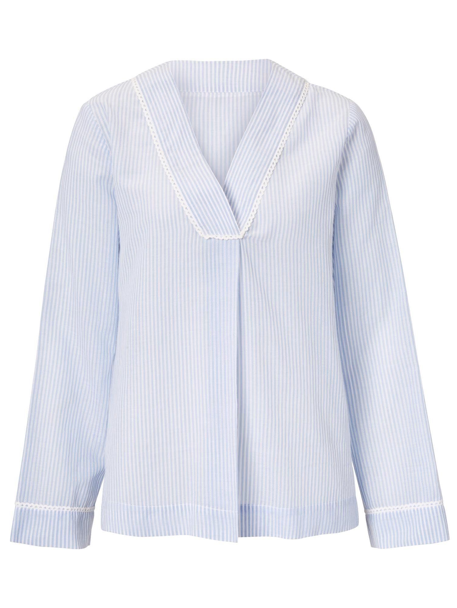 Mellow Peach Pyjama-Bluse mit feinem Strukturstreifen