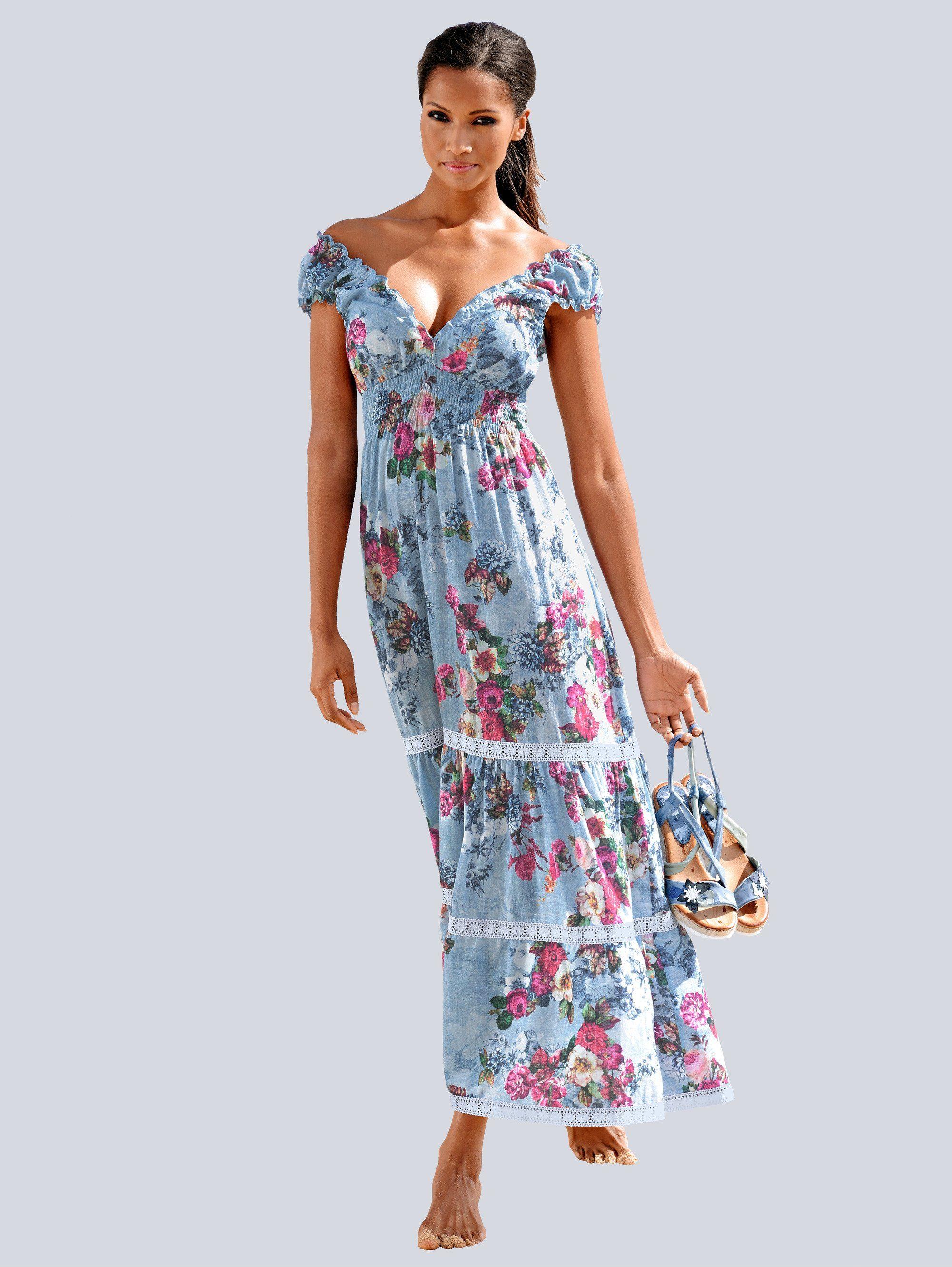 Alba Moda Strandkleid in Maxilänge, Kleid mit spitzenverzierten Stufen online kaufen | OTTO