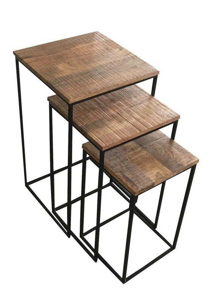 Beistelltisch metall  KAWOLA Beistelltisch 3-er Set aus Holz/Metall »INDI« online kaufen | OTTO
