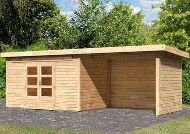 KARIBU Set: Gartenhaus »Kandern 7«, BxT: 702x273 cm, inkl. Anbaudach mit Seiten- und Rückwand