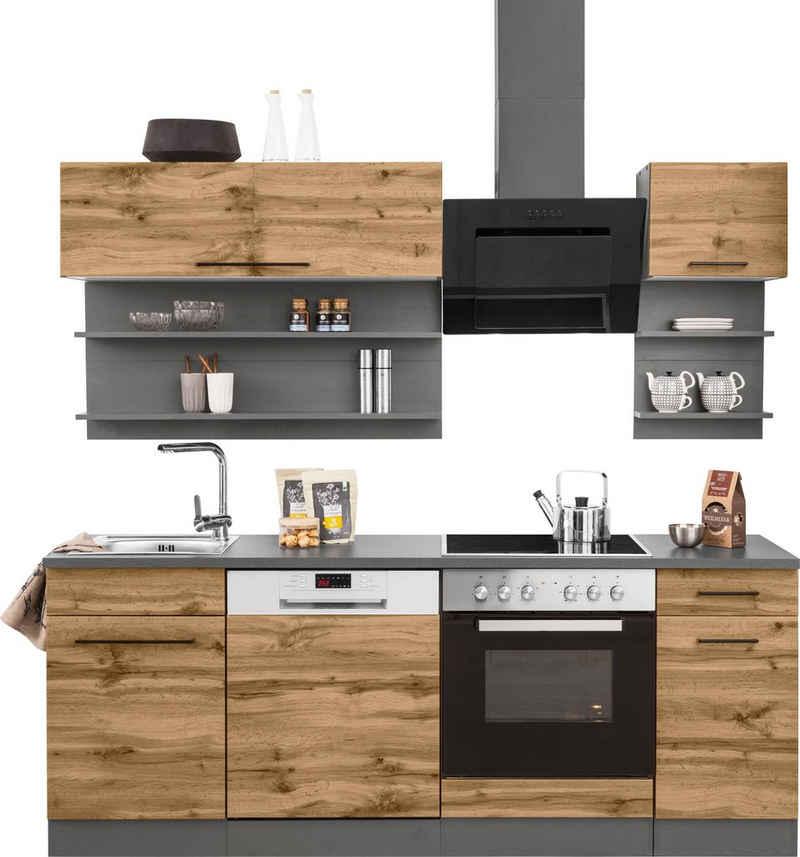 HELD MÖBEL Küchenzeile »Tulsa«, mit E-Geräten, Breite 210 cm, schwarze Metallgriffe, hochwertige MDF Fronten