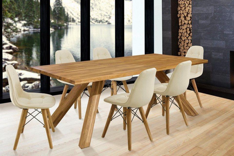 Home Affaire Essgruppe Lasi Set 7 Tlg Bestehend Aus 6 Stühlen Und Einem Esstisch Esstischbreite 200 Cm Online Kaufen Otto
