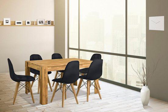 Home affaire Essgruppe »Elena«, (Set, 7-tlg), bestehend aus 4 Stühlen und einem Esstisch, Esstischbreite 160 cm