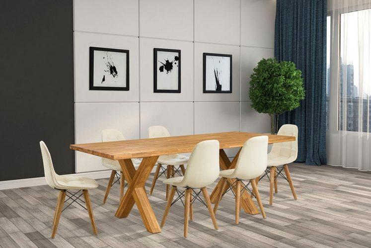 Home affaire Essgruppe »Kirais«, (Set, 7 tlg), bestehend aus 6 Stühlen und einem Esstisch, Esstischbreite 200 cm