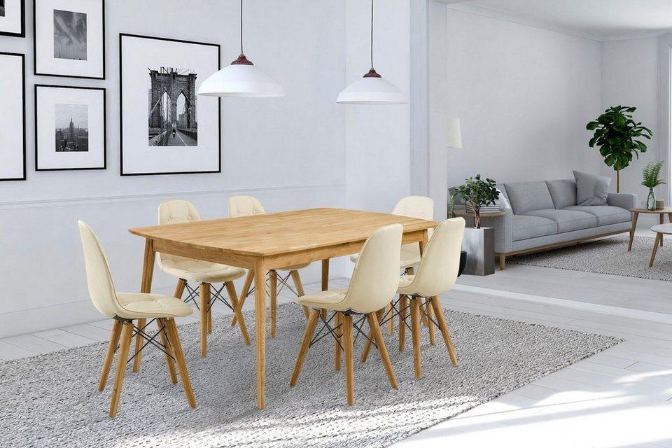 Home Affaire Essgruppe Scandi Set 7 Tlg Bestehend Aus 6 Stühlen Und Einem Esstisch Esstischbreite 180 Cm Online Kaufen Otto