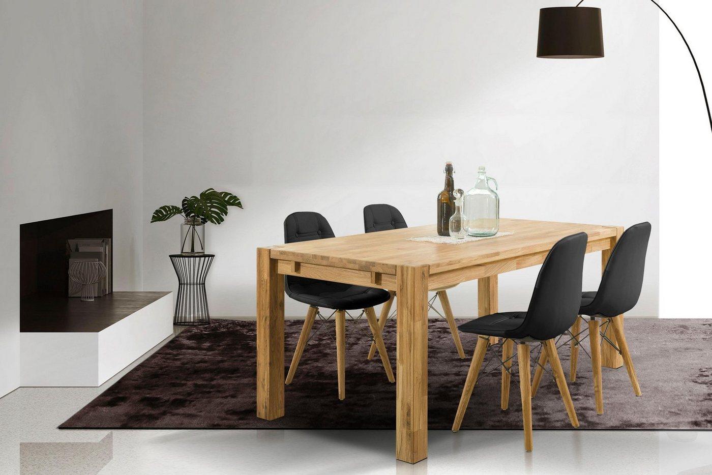 Home affaire Essgruppe »Tim«, (Set, 5 tlg), bestehend aus 4 Stühlen und einem Esstisch, Esstischgröße 180 cm | Küche und Esszimmer > Stühle und Hocker > Esszimmerstühle | Massivholz | Home affaire