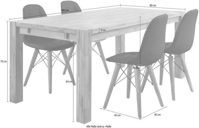Home affaire Essgruppe »Tim«, (Set, 5 tlg), bestehend aus 4 Stühlen und einem Esstisch, Esstischgröße 180 cm | Küche und Esszimmer > Stühle und Hocker > Esszimmerstühle | home affaire
