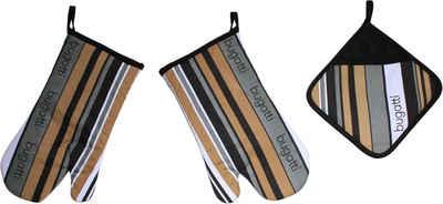 bugatti Topfhandschuhe »bugatti Tape«, (Set, 3-tlg., bestehend aus 2x Ofenhandschuh, 1x Topflappen)