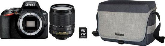 Nikon »D3500 Kit AF-S DX 18-105mm VR Kit« Spiegelreflexkamera (AF-S DX NIKKOR 18–105 mm 1:3,5–5,6G ED VR, 24,2 MP, Bluetooth, Tasche CF-EU G511+16GB SD+ 10€ Fotogutschein)