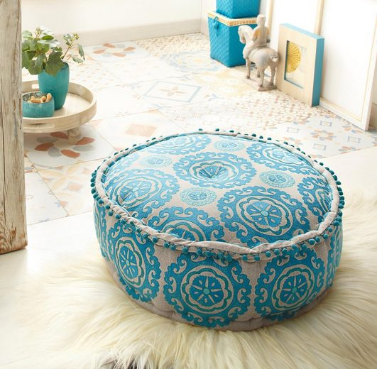 Home affaire Pouf »Javed«, aus schönem Baumwollstoff und edlen Stickereien