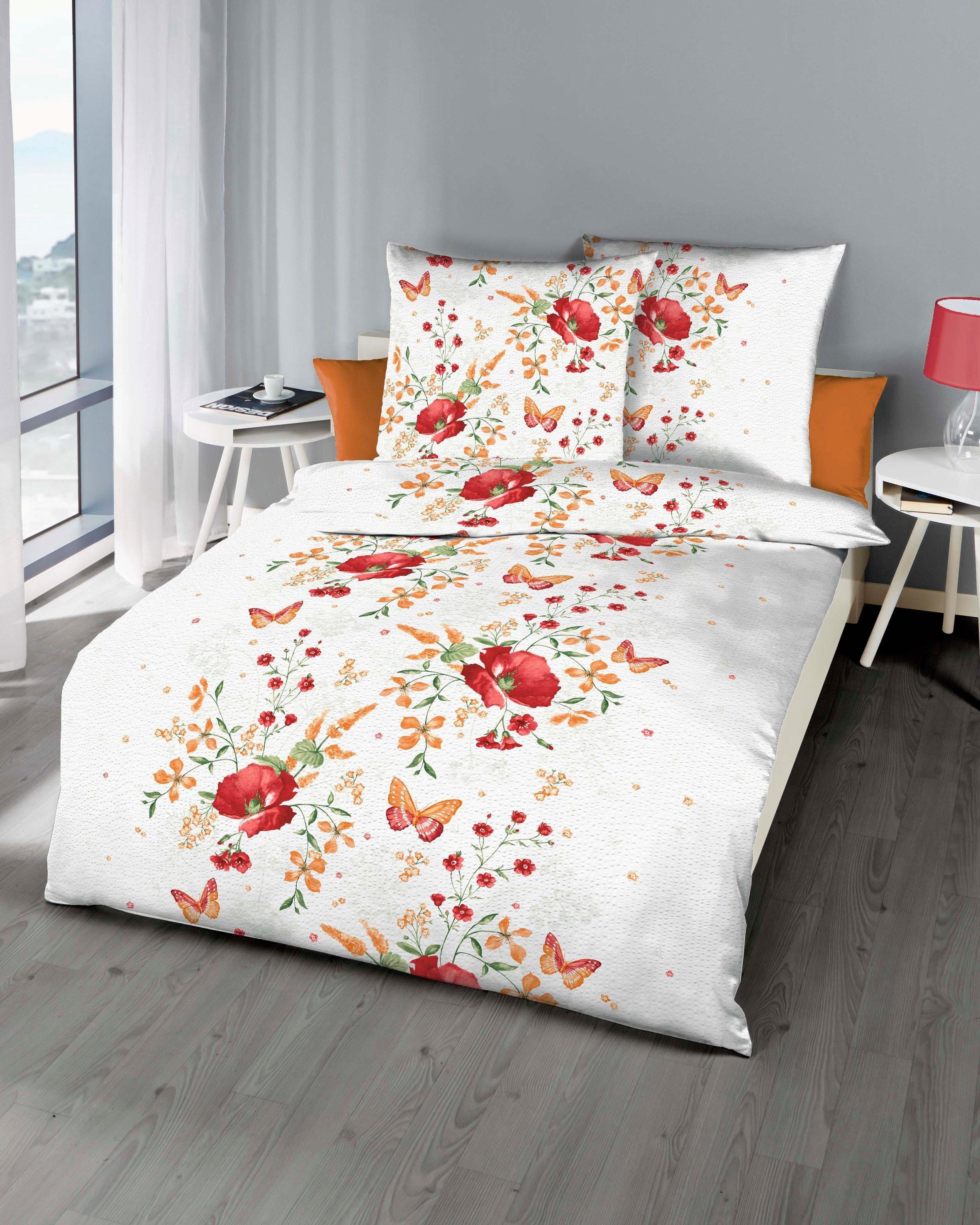 Bettwäsche »Marie«, , mit Blüten und Schmetterlingen bedruckt