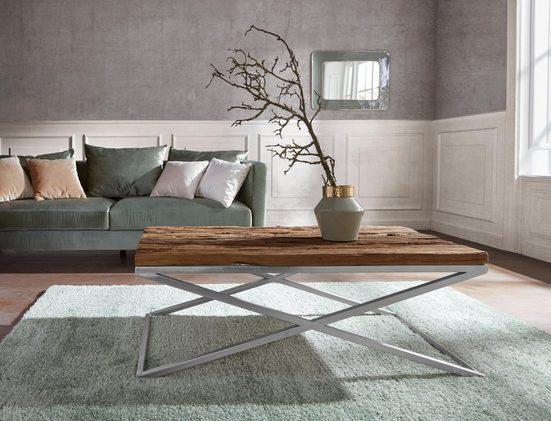 Guido Maria Kretschmer Home&Living Couchtisch »Cross«, aus massivem Mango Treibholz und schönem Metallgestell
