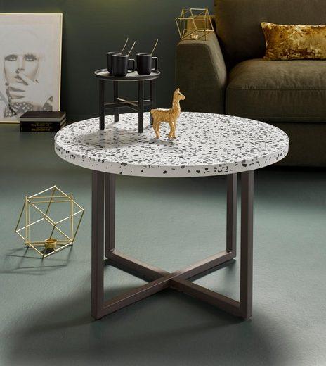 INOSIGN Beistelltisch, mit schönem Metallgestell und edler Terrazzo-Tischplatte