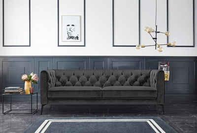 Leonique Chesterfield-Sofa »Narmada«, mit dekorativer Knopfheftung im Rückenteil und an den hohen Armlehnen, mit schlanken Metallbeinen, im Chesterfield-Design