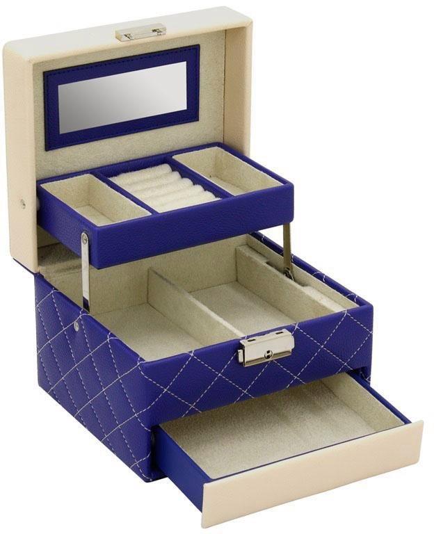 Friedrich23 Schmuckkoffer »Diana, 20088-5«, mit Spiegel im Deckel und automatischer Schub- und Deckelöffnung | Schmuck > Schmuckaufbewahrungen | Blau | Friedrich23