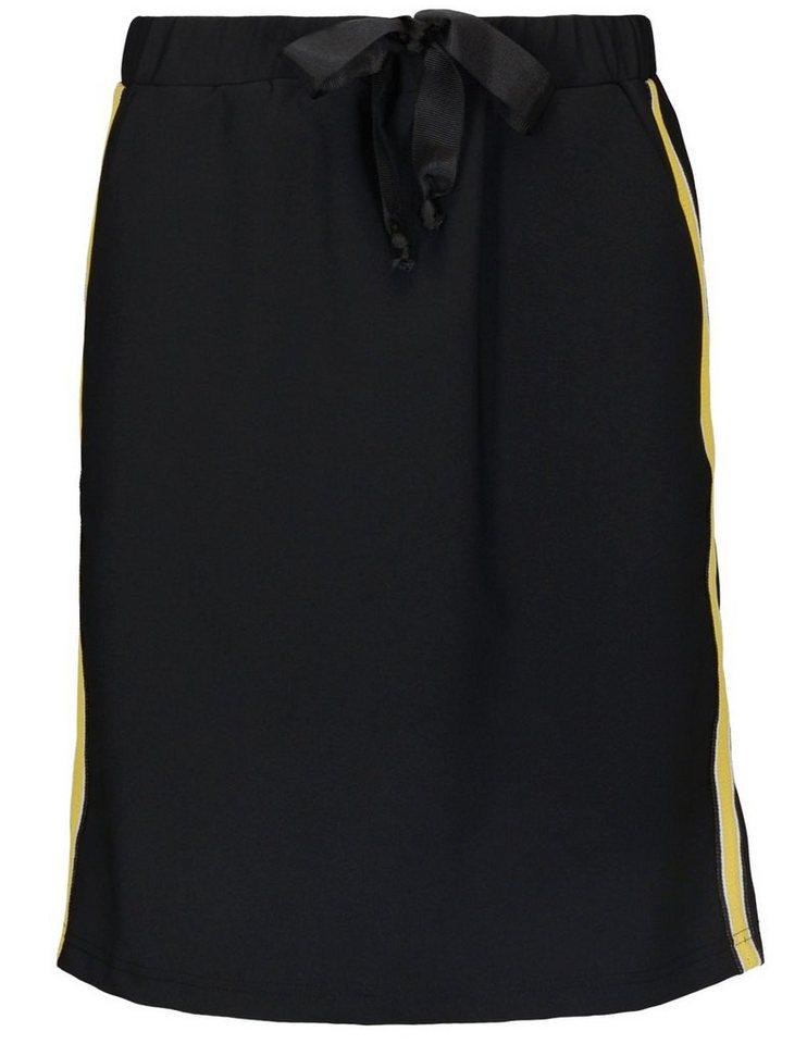 Clarina Jerseyrock mit Mesh-Galonstreifen | Bekleidung > Röcke > Jerseyröcke | Schwarz | Clarina