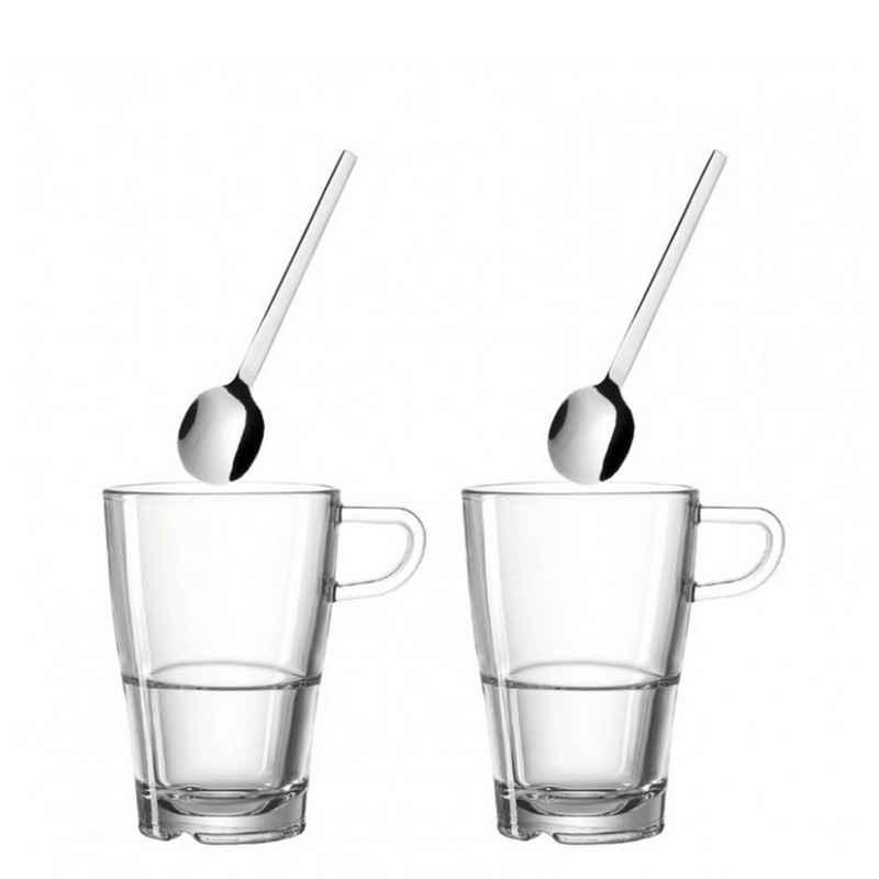 LEONARDO Latte-Macchiato-Glas »Set 4tlg. Latte Macchiato Senso«, Materialmix