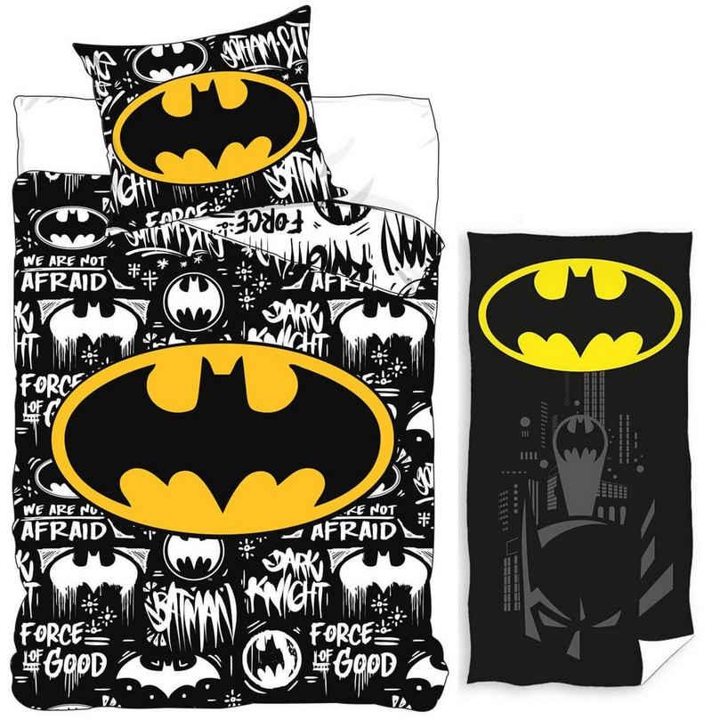 Kinderbettwäsche »Batman - Wende-Bettwäsche-Set, 135x200 cm und Badetuch, 70x140 cm«, Batman, 100% Baumwolle
