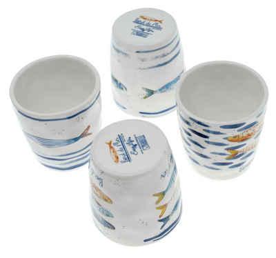 Lashuma Espressotasse »Fische«, Porzellan, Porzellantassen aus Italien, kleine Espressobecher je 100 ml
