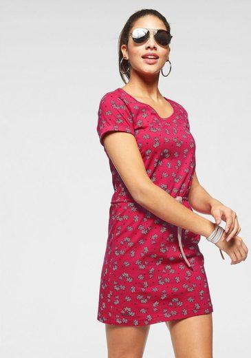 KangaROOS Shirtkleid mit Tunnelzug im Allover-Print