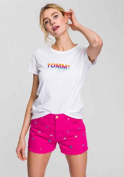 3e0b573f9b20be TOMMY JEANS Rundhalsshirt mit Logo-Print in Regenbogenfarben