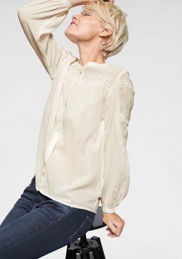 Pepe Jeans Hemdbluse »SIRA« mit aufwendiger Stickerei & Häkelspitze