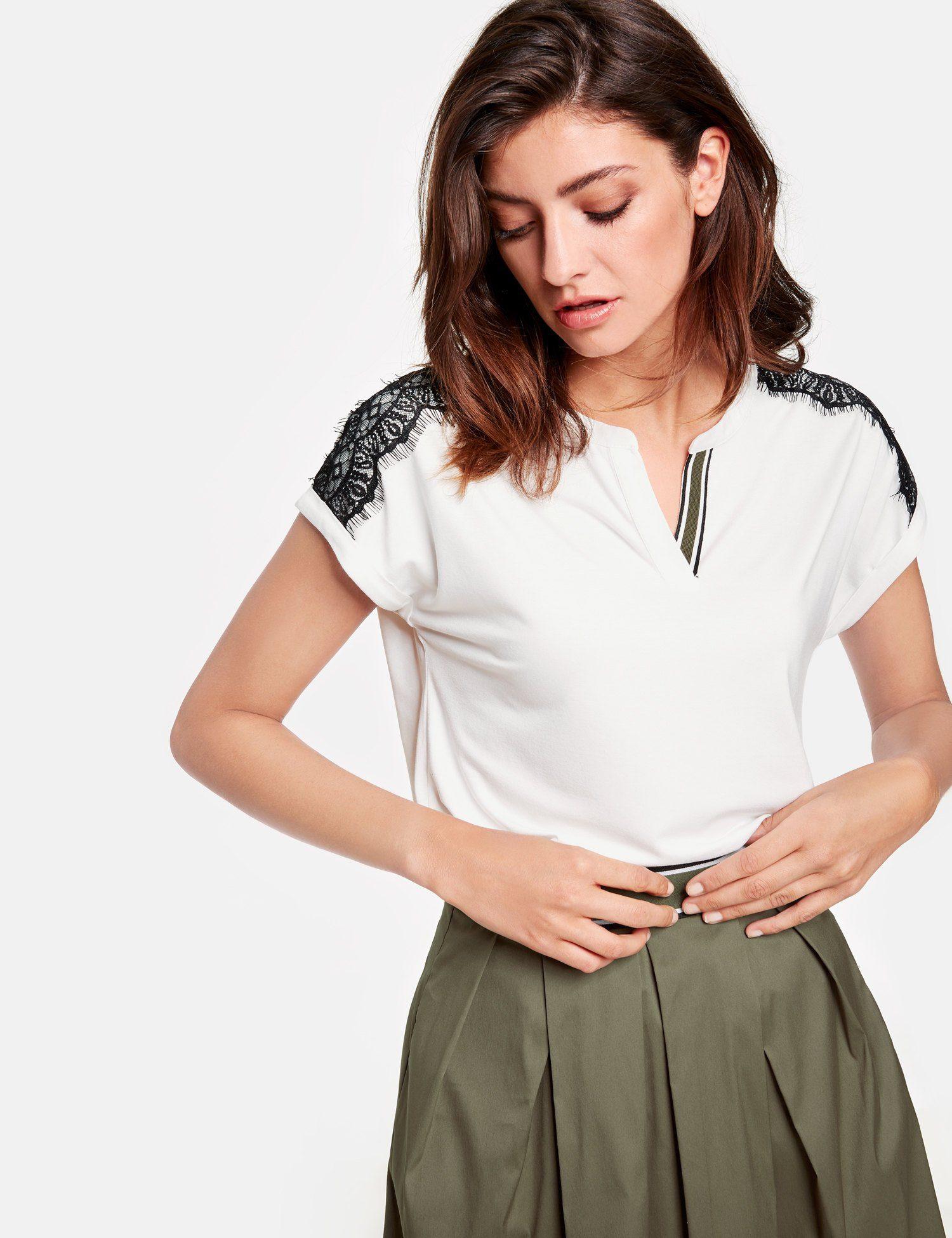 TAIFUN T-Shirt Kurzarm Rundhals »Shirt mit Kontrast-Spitze«