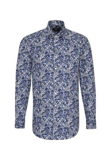 Seidensticker Comfort Businesshemd »comfort« Kent kragen Floraler Blau Langarm Print bIY76gvfy