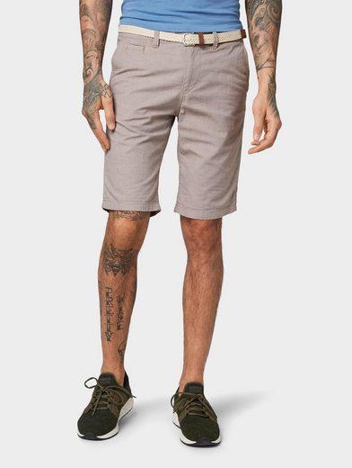 TOM TAILOR Denim Shorts »Strukturierte Chino Shorts mit geflochtenem Gürtel«