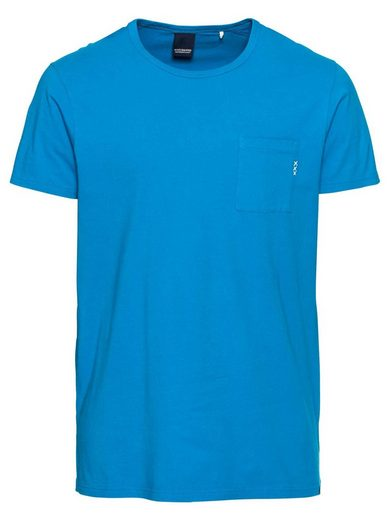 Scotch & Soda Rundhalsshirt »Ams Blauw 1 pocket tee in colours with XXX embro«