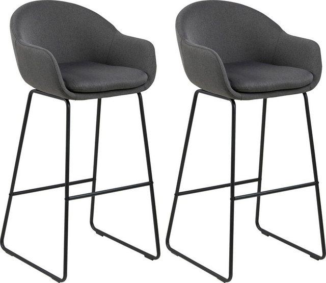 Barmöbel - andas Barhocker »Alvara« (Set, 2 St), mit schönem schwarzem Metallgestell und bequemen Webstoff Bezug  - Onlineshop OTTO